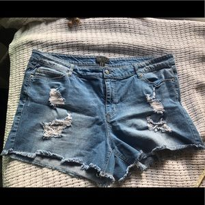 distressed • jean short